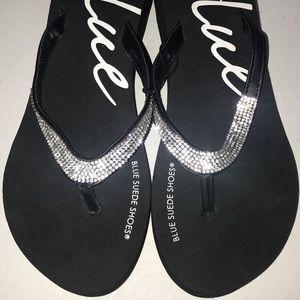 Never worn Blue Suede Sandals with rhinestones